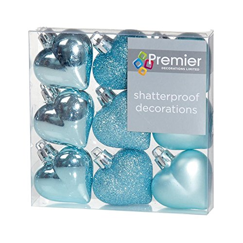 Blue Glitter Heart (Christmas Decorations 9 Pack 40mm Multi Finish Heart baubles - Ice Blue)