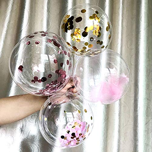 50pcs Clear Round Bubble Balloons - Traceless Transparent Decorative Balloon - No Wrinkles Helium Foam Balloon for Wedding Birthday Home Party Valentine's Day Decoration (8 Inch)