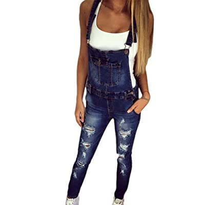 ADELINA Peto Jeans Mujer Skinny Rotos Agujeros Vaqueros Elásticos Overall Elegantes Moda Completi Vintage Moda Casuales Ajustable Denim Monos Peto: Ropa y accesorios