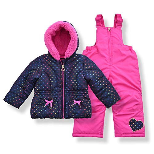 Arctic Quest Toddler Girls Metallic Rainbow Heart Print Snowsuit Fleece Lined Hooded Jacket and Bib Set, Navy Blue & Pink, 5/6
