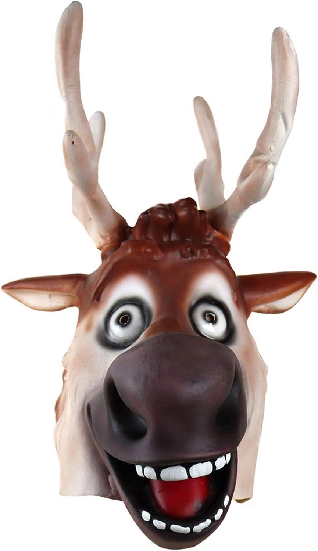 Adult Teen Deer Reindeer Mask Latex Full Head Costume Accessory