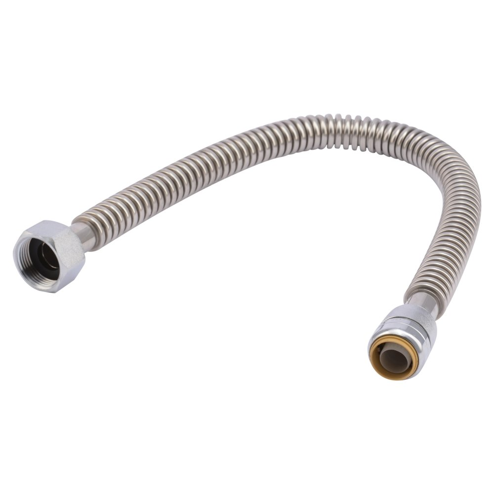 SharkBite SS3086FLEX24LFA Corrugated Flexible Water Heater Connector, 3/4 inch x 1 inch FIP x 24 inch, Push-to-Connect Braided Stainless Steel Water Heater Hose