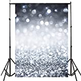 DODOING 5x7ft Silver Glitter Sequin Wall Photo Photography Backdrops Shining Glittering Spots Bokeh Halos Sparkle Wedding Party Backgrounds Kids Children Studio Props