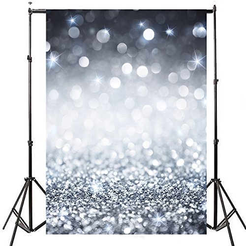 DODOING 5x7ft Silver Glitter Sequin Wall Photo Photography Backdrops Shining Glittering Spots Bokeh Halos Sparkle Wedding Party Backgrounds Kids Children Studio Props by DODOING