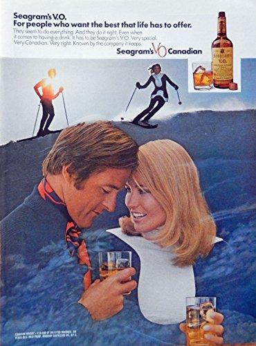 n Whiskey, 70's print ad. Color Illustration (skiing) original 1972 Magazine Art (Seagram Vo Canadian Whiskey)