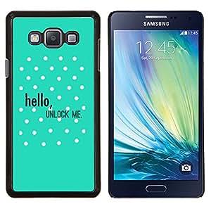 YiPhone /// Prima de resorte delgada de la cubierta del caso de Shell Armor - Hola Desbloquear Lunares Verde texto - Samsung Galaxy A7 A7000
