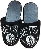 NBA Brooklyn Nets Men's Team Logo Slippers Black (Medium (9-10))