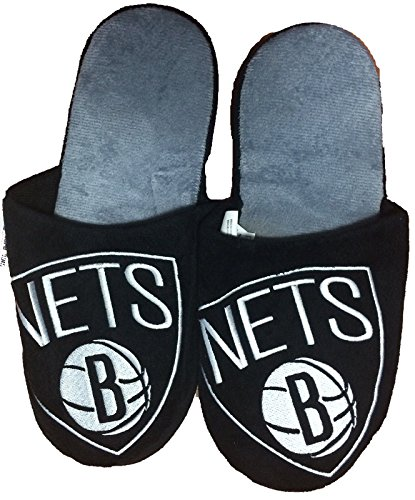 NBA Brooklyn Nets Men's Team Logo Slippers Black (Medium (9-10)) by NBA