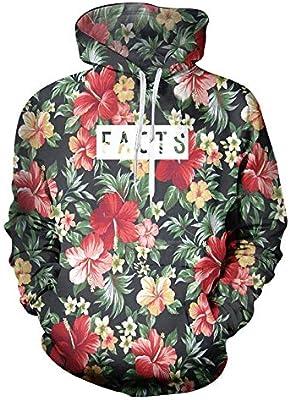 Dodom Flores Hoodies Hombres Moda 3D Sudaderas con Capucha Imprimir Hojas Floral Hoodies con Capucha Casual O-Cuello Pullovers Jumpers Unisex