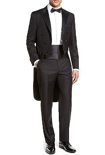 Marié Costume Queue de Morue Homme Mariage Cérémonie Couleur Unie Noir 3  Pièces Veste Pantalons Ceinture ad922a738b1