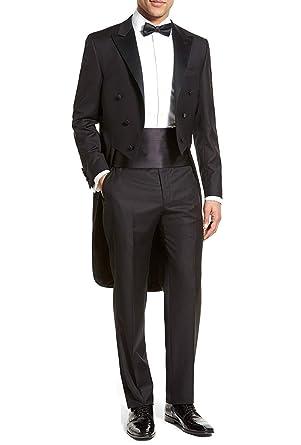 Marié Costume Queue de Morue Homme Mariage Cérémonie Couleur Unie Noir 3  Pièces Veste Pantalons Ceinture 5459563f675