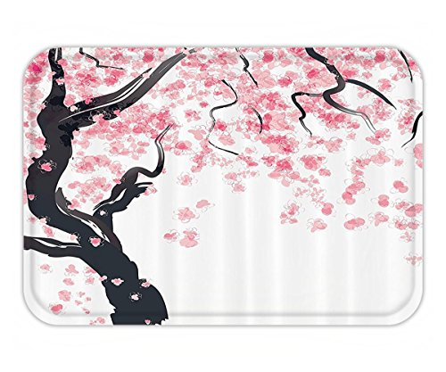 Autumn Cherry Tree (Beshowere Doormat House Decor Set Japanese Cherry Tree Blossom in Watercolor Painting Effect Oriental Stylized Art Deco Bathroom Accessorie Extralong Black Pink.jpg)