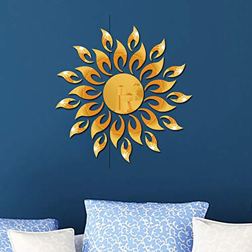 CUGBO 3D Sunflower Mirror Wall Stickers Round Acrylic Living Room Bedroom TV Background Wall Decals Marriage Room Entrance Home Decor (Gold) (Stickers Wall Sunflower)