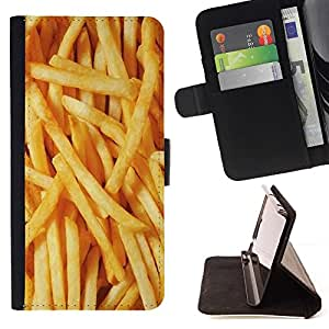 Momo Phone Case / Flip Funda de Cuero Case Cover - Junk Food rapide Jaune - Motorola Moto E ( 2nd Generation )