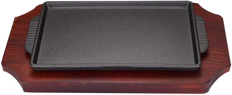 Olla Ollas de cocina Sartenes Plancha de hierro fundido Bandeja reversible de doble cara con superficies planas y onduladas antiadherentes Bandeja de goteo integral adecuada for sartén de inducción