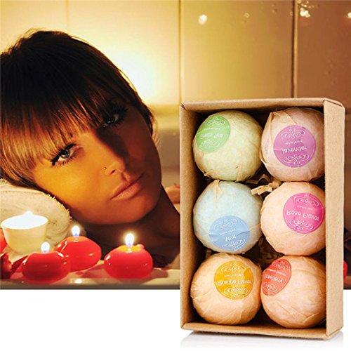 GreatFun Bombas de baño orgánicas con burbujas para baño, sales, bolas de aceite esencial hechas a mano, bombas de baño