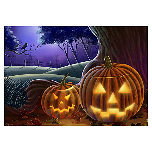 Happy Halloween - Full Drill - 5D DIY Diamond Painting by Number Kits Franterd Embroidery Rhinestone Pasted Cross Stitch Handcraft Arts Craft Home Decor (Pumpkin)]()