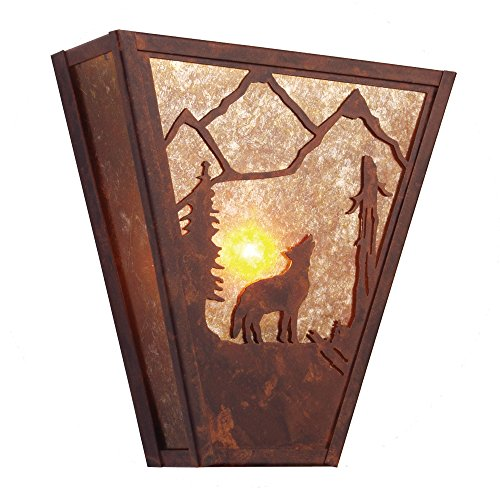 - Steel Partners Lighting 9495-MB-K Vegas Sconce - Bark at The Moon with Mountain Brown Finish and Khaki Lens