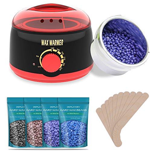 Waxing Spa Basic Kit (TAURI Rapid Melt Hair Removal Waxing Kit Wax Warmer with 4 Flavor Hard Wax Beans & 10 Wax Applicator Sticks - Black Wax Kit)