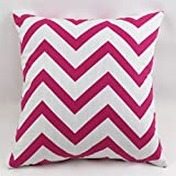 TAOSON Chevron Zig Zag Cotton Canvas Pillow Sofa Throw White Printed Cushion Cover Pillow Case with Hidden Zipper Closure Only Cover No Insert 25x 25 Inch 65x65cm-Rose