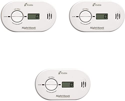 Kidde 21007267 Nighthawk Carbon Monoxide Alarm, Battery Operated with Digital Display Model KN-Copp-B-LS Pack of 3