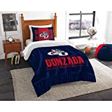2pc NCAA Gonzaga Bulldogs Comforter Twin Set, Red, Team Spirit, Blue, , Unisex, Team Logo, Fan Merchandise, Sports Patterned Bedding, College Basket Ball Themed