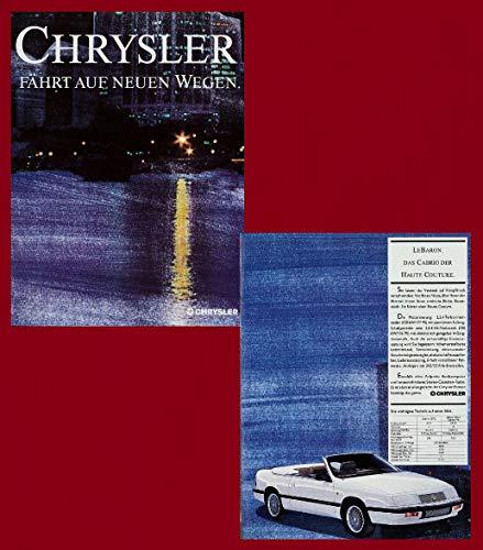 1989 CHRYSLER-JEEP FULL LINE HUGE COLOR SALES BROCHURE FOLDER - CHRYSLER INTERNATIONAL - GERMAN - EXCELLENT ORIGINAL !!