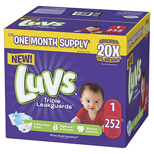 Luvs Ultra Leakguards Disposable Baby Diapers Newborn Size 1, 252Count, ONE MONTH SUPPLY (Packaging May Vary) - Large Baby Diapers