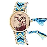 Windoson Latest Womens Owl Watches Ladies Watches Female Watches Knitted Watches (Sky Blue)