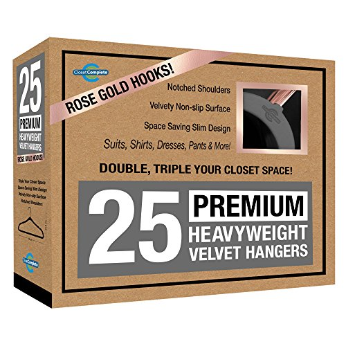 Closet Complete PREMIUM Quality, True-Heavyweight, 80-gram, Virtually-UNBREAKABLE Velvet Hangers, Ultra-Thin, Space Saving No Slip Suit Hangers, 360° SPINNING, ROSE GOLD Hooks, Heather Gray, Set of 25