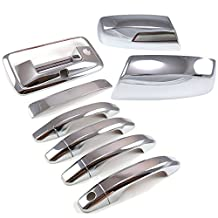 2014-2016 Chevy Silverado 1500 /GMC Sierra 1500 Chrome 4 Door Handle + Tail with Keyhole & Camera Hole + Upper Top Half Side Mirror Cover Set by EZ Motoring