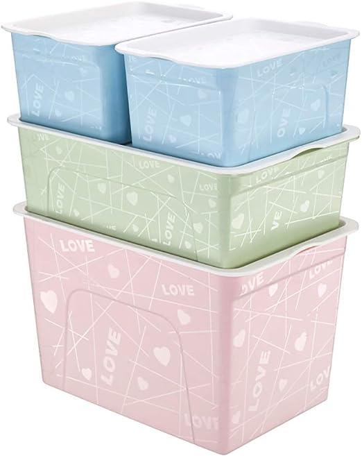 Chuangyou LTT - Caja de Almacenamiento Grande de plástico Impreso, Caja de Almacenamiento de Ropa para Guardar Juguetes, cestas de Almacenamiento apilables con Asas, Almacenamiento con Ruedas: Amazon.es: Hogar
