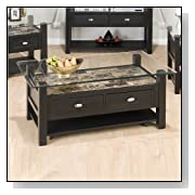 Jofran Marble Techmetric Glass Top Coffee Table in Basic Black