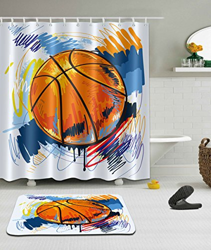 LB Play Basketball 3D Digital Printing 72 x 72 inch Anti Bacterial Waterproof Personality Polyester Fabric Bathroom Shower Curtain for Home/Travel/Hotel and High Absorbent Bath Mat
