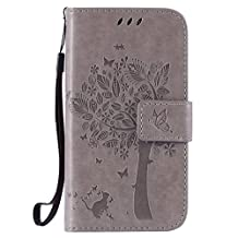 SZYT Phone Case for Samsung Galaxy Core Prime G360 / Samsung Galaxy Prevail LTE Imprint Pattern Cat and Tree with Black Handle Gray