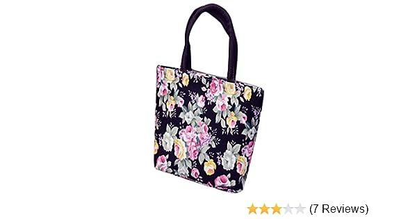 Amazon.com  SFE Womens Girls Fashion Floral Print Canvas Shopping Handbag  Shoulder Tote Shopper Bag (Black)  Clothing 45f95f8061882