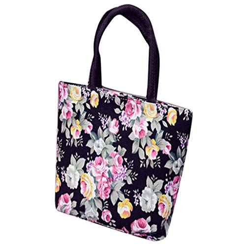 SFE Womens Girls Fashion Floral Print Canvas Shopping Handbag Shoulder Tote Shopper Bag ()