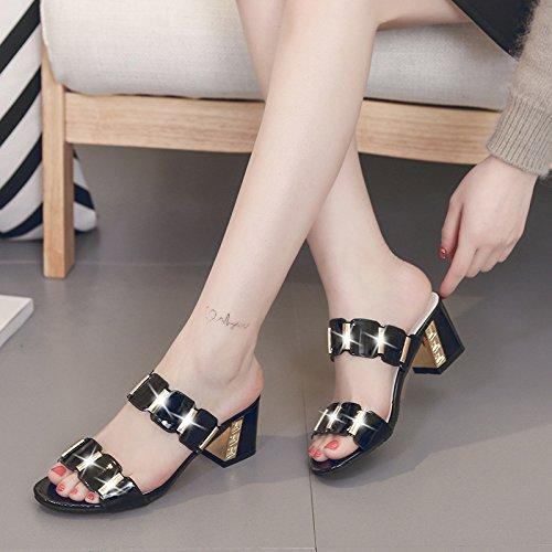 HGTYU Women'S Shoes Summer Rough Heel Female 6Cm Heel Thirty-eight nWAvAE7L