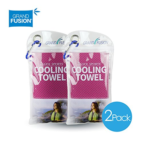 2Kool Sports Cooling Towel 2 Pack Pouch with Carabiner - Hot Pink for Sports, Workout, Yoga, Fitness, Gym, Pilates, Travel, Camping & More (Hot Pink) - 2 Hot Pink Snap