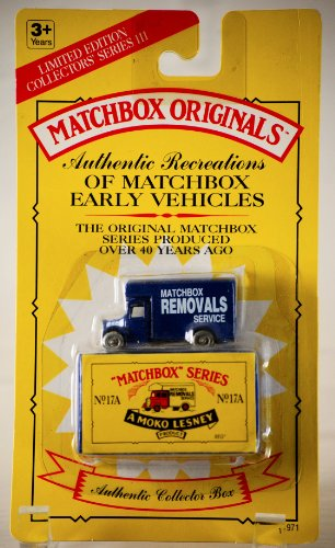 - 1993 - Tyco Toys Inc - Matchbox Originals - Authentic Recreations Matchbox Early Vehhicles - No.17A / Matchbox Removals Service - Blue Truck - Die Cast Metal - 1:64 Scale - Collectors Series III - MOC - Out of Production - Limited Edition - Collectible