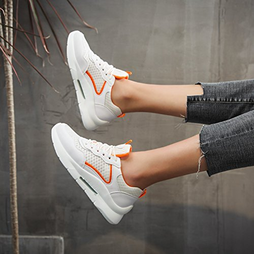 NGRDX&G Zapatillas Casual De Malla Zapatillas Blancas Transpirables Estudiante Femenino White Orange