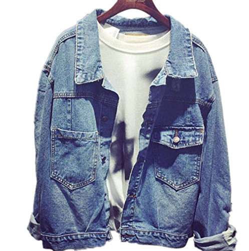 YINHAN? Women's Single-breasted Joker Jean Coat Loose Jacket Blue S