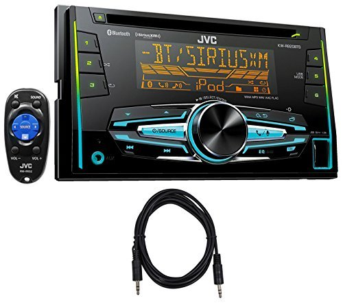 "Package: JVC KW-R920BTS Double-Din In-Dash Stereo/CD Player/Receiver With Bluetooth + Trisonic 6 Foot 3.5"" P-Text 24/48 Aux Input Wire"