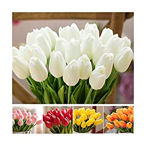HANBINGPO 1 Pcs Fake Red Tulips Silk Tulip Artificial Flowers Tulips for Home Decoration Lot Artificial Flowers for Wedding Tulip Bouquets 98