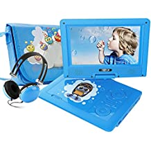 """FUNAVO 9.5"""" Portable DVD Player with Headphone, Carring Case, Swivel Screen, 5 Hours Rechargeable Battery, SD Card Slot and USB Port (Blue)"""