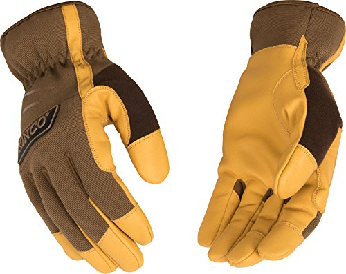 Kinco 2014-L-1 MiraX2 brown synthetic leather palm, Easy-On cuff, Terry cloth sweat wipe on thumb, Size: L