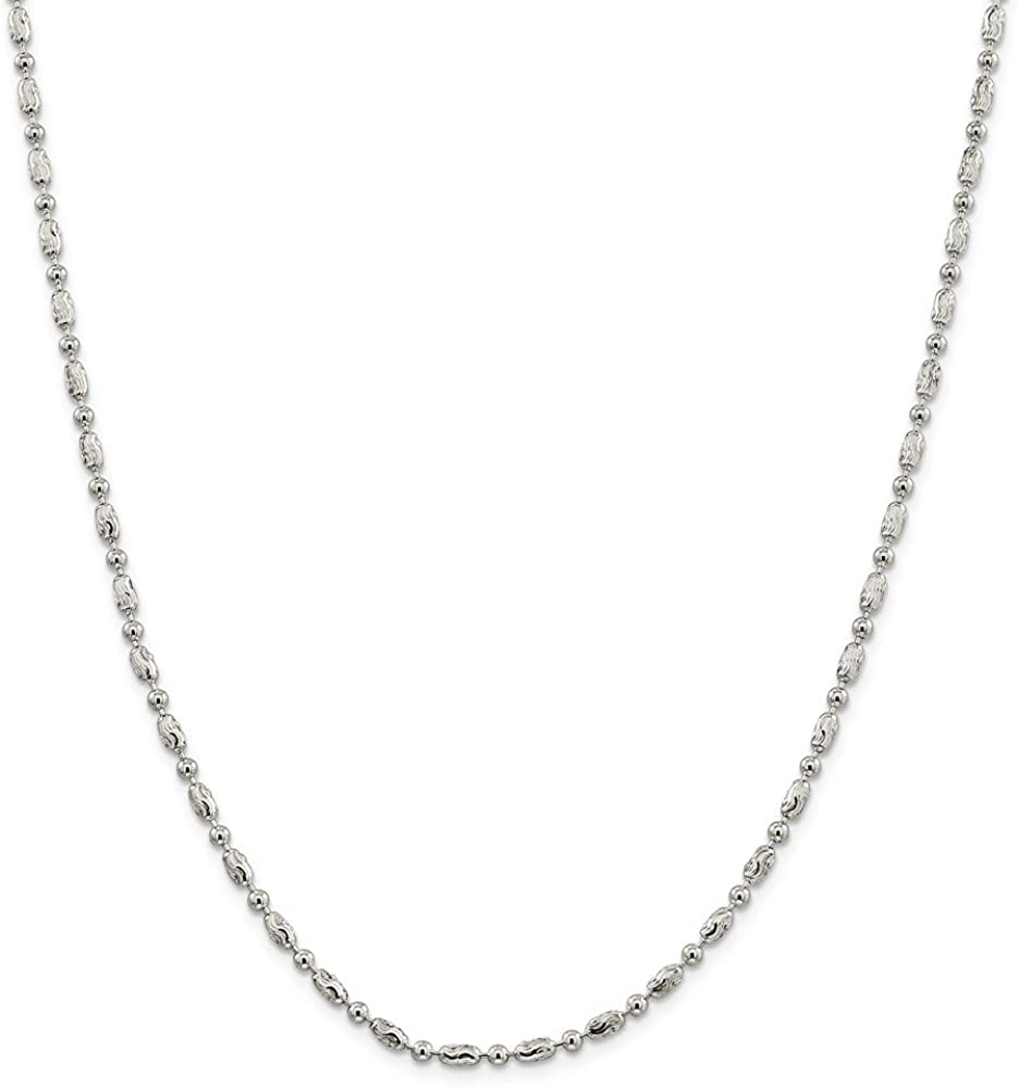 Sterling Silver 3mm Polished Round and Textured Oval Bead Anklet