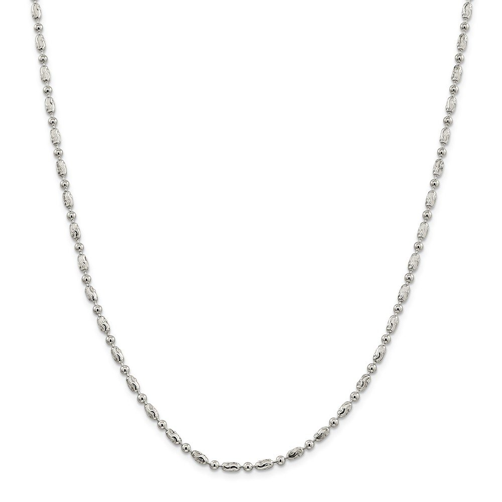 Solid 925 Sterling Silver 3mm Polished Round and Textured Oval Bead Chain Necklace 24'' - with Secure Lobster Lock Clasp