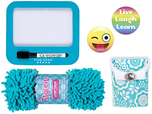 Flower Dry Board Erase (Locker Accessories Bundle with 3C4G Blue Rug, Room Lookz Aqua Flower Storage Bin, 5 Star Dry Erase Board, and PartyMoji 2017 Limited Edition Emoji, Quote Magnets (4 Items))