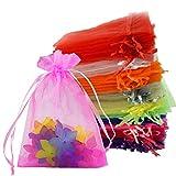 Chasgo 100PCS Organza Bags 5x7 Drawstring Wedding Gift Bags Drawstring Organza Jewelry Pouches